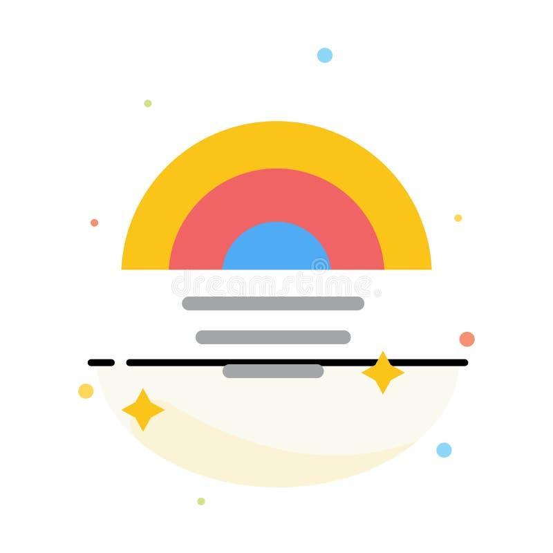 Arc-en-ciel, pluvieux, ciel, calibre plat d'icône de couleur d'abrégé sur temps illustration de vecteur