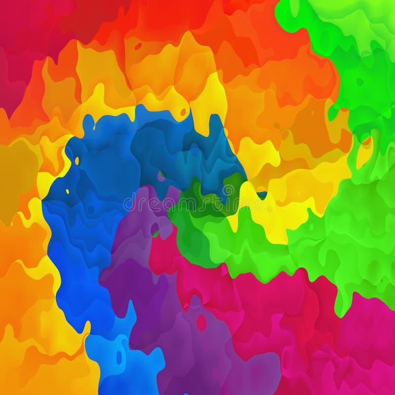 Arc-en-ciel polychrome souillé de spirale de spectre de fond de place de texture de modèle - art moderne de peinture - tache e d' illustration de vecteur