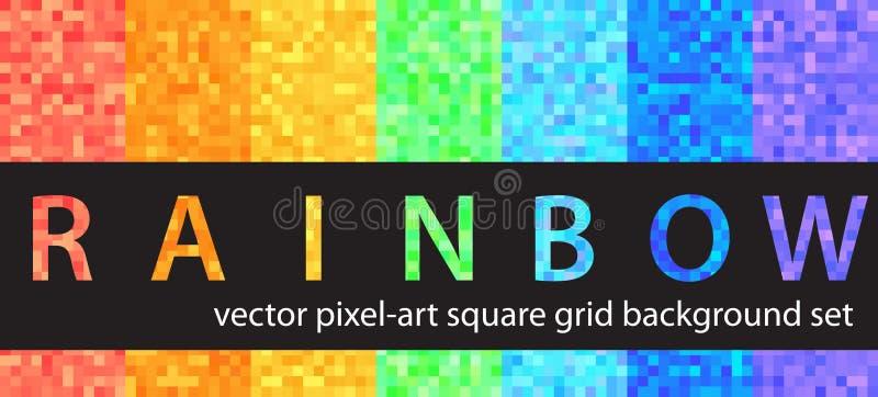 Arc-en-ciel réglé de modèle de pixel Milieux sans couture d'art de pixel de vecteur illustration de vecteur