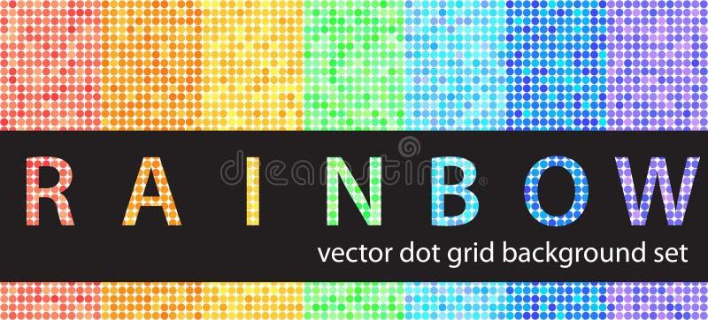 Arc-en-ciel réglé de modèle de point de polka Backgro géométrique sans couture de vecteur illustration stock
