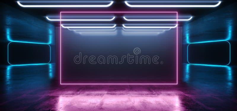 Arc-en-ciel rose vibrant bleu de rétro de Sci fi de fond de laser de porte de rectangle de vaisseau spatial pourpre brillant mode illustration stock