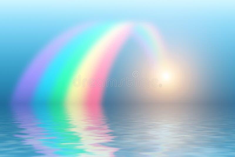 Arc-en-ciel se reflétant dans l'eau photo libre de droits