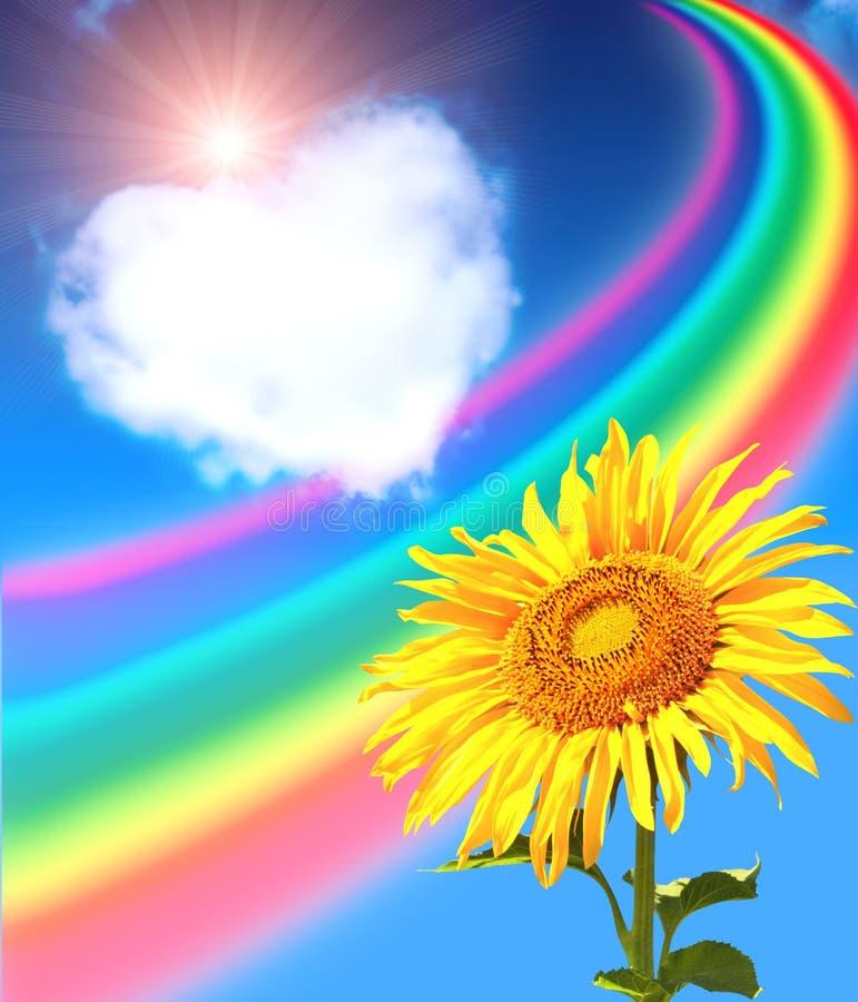 Arc-en-ciel, tournesol et coeur des nuages illustration libre de droits