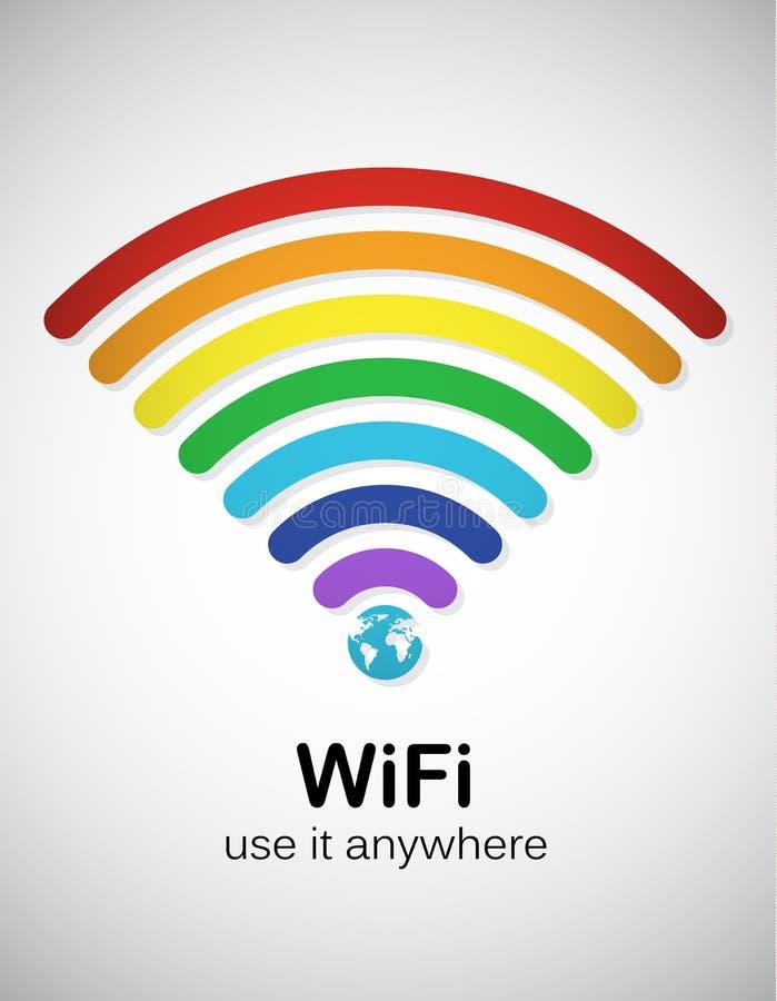 Arc-en-ciel WiFi illustration de vecteur