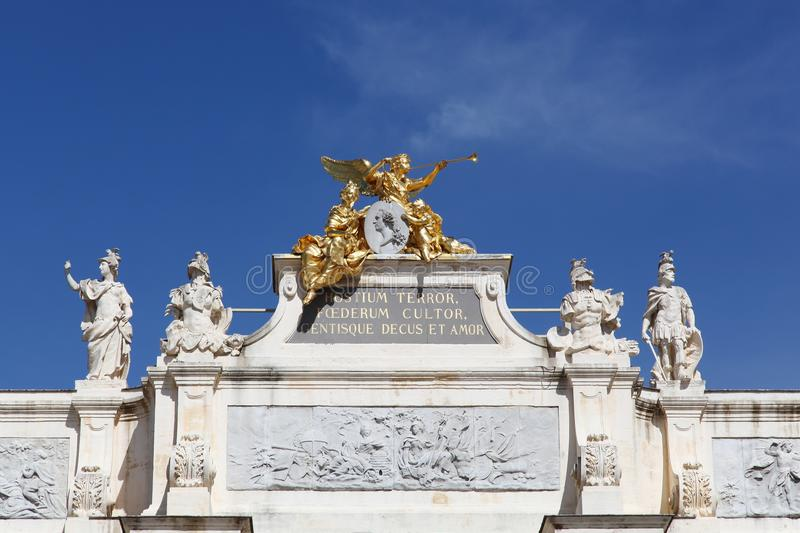 Arc here, place Stanislas in Nancy stock images