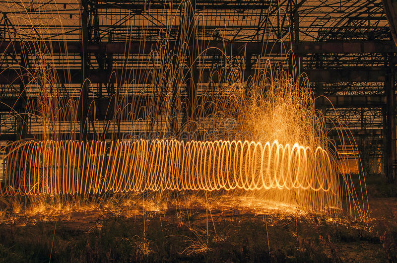 Download Arc Of Light From Burning Steelwool Stock Photo - Image: 35738918