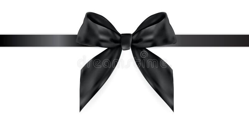 Arc noir décoratif avec le ruban d'isolement sur le blanc illustration réaliste du vecteur 3D illustration libre de droits