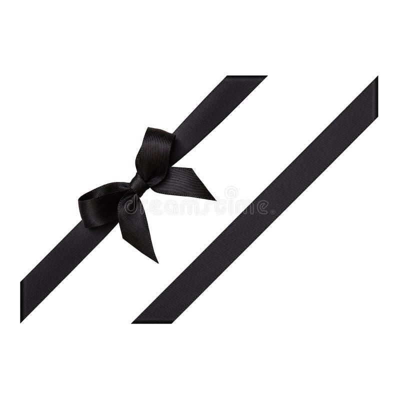Arc noir fait en ruban de satin photo stock