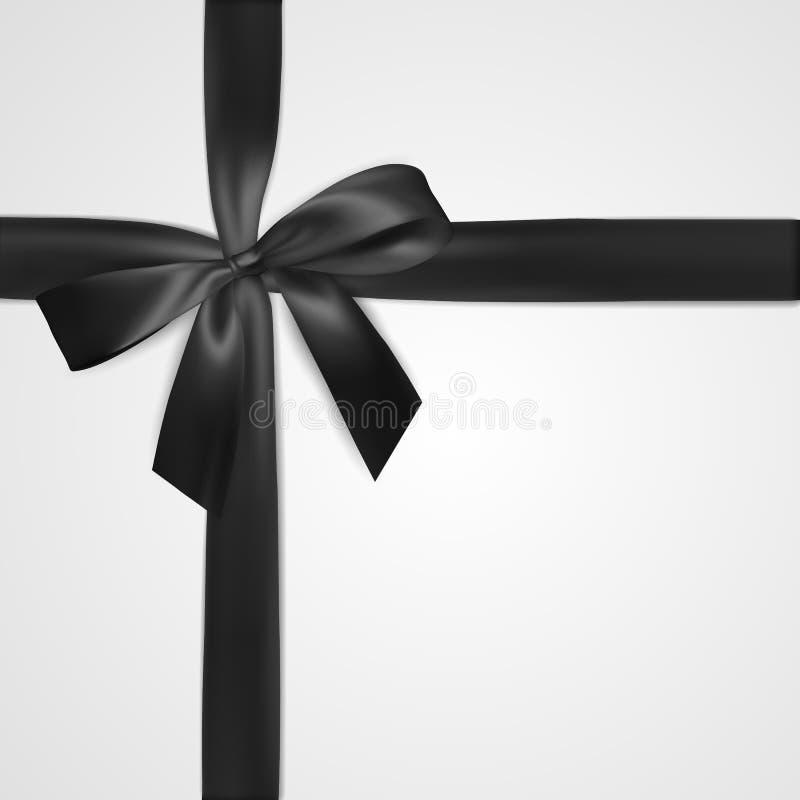 Arc noir réaliste avec le ruban d'isolement sur le blanc Élément pour des cadeaux de décoration, salutations, vacances Illustrati illustration libre de droits