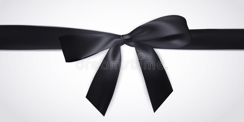 Arc noir réaliste avec le ruban d'isolement sur le blanc Élément pour des cadeaux de décoration, salutations, vacances Illustrati illustration stock