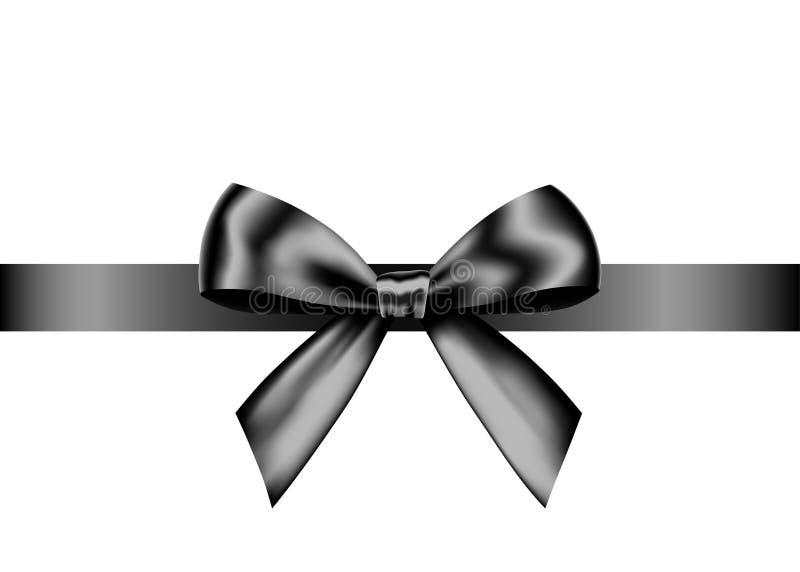 Arc réaliste noir de cadeau avec le ruban horizontal illustration de vecteur