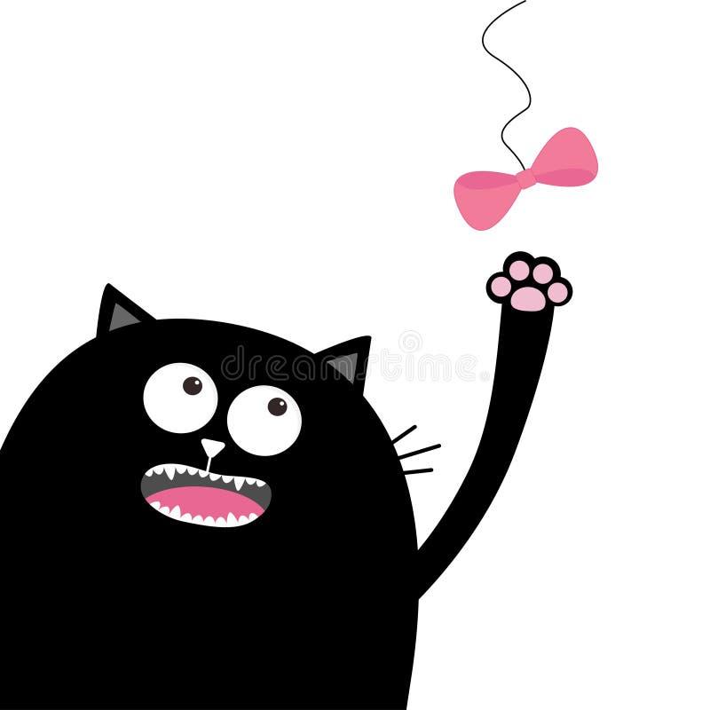 Arc rose de regard principal de chat noir accrochant dans le fil Jeu du chaton Paw Print Caractère drôle de bande dessinée mignon illustration stock