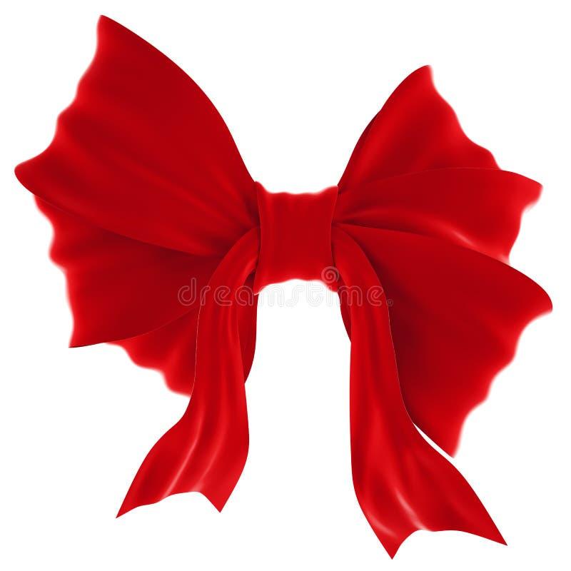 Arc rouge de cadeau de velours. Ruban. D'isolement sur le blanc illustration stock