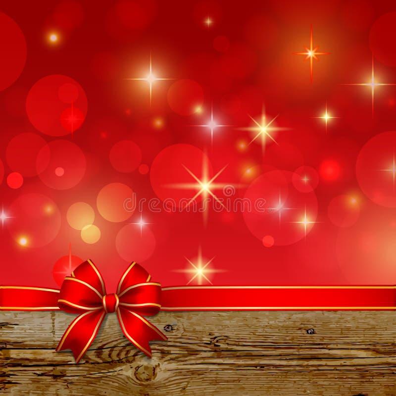 Arc rouge de ruban avec la décoration de Noël de bokeh illustration stock