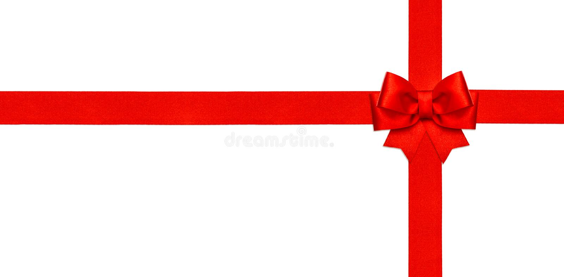 Arc rouge de ruban d'isolement sur le concept blanc de carte cadeaux images libres de droits