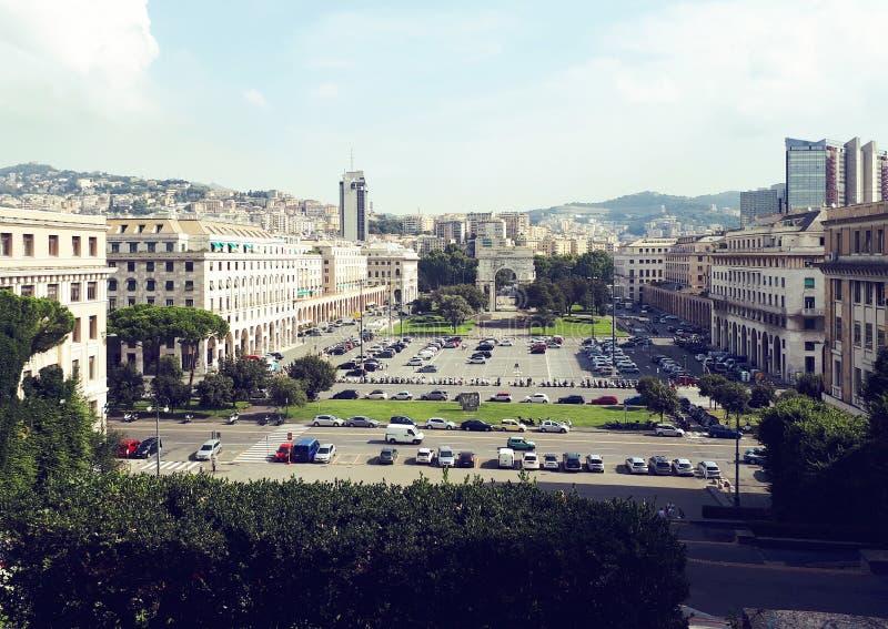 Arc of triumph in Genoa at piazza della vittoria. Victory square, Italy stock photo