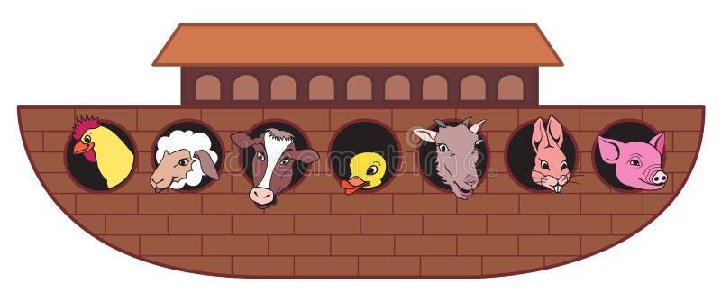 Arca de Noahs con los animales stock de ilustración
