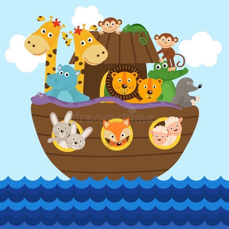 Arca del ` s de Noah por completo de animales a bordo ilustración del vector