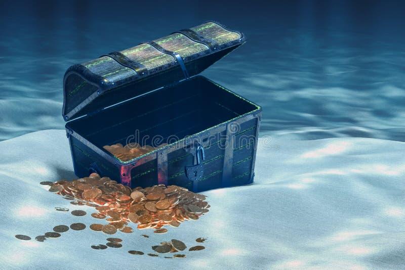 Arca do tesouro aberta com ouro debaixo d'água, rendição 3D ilustração stock