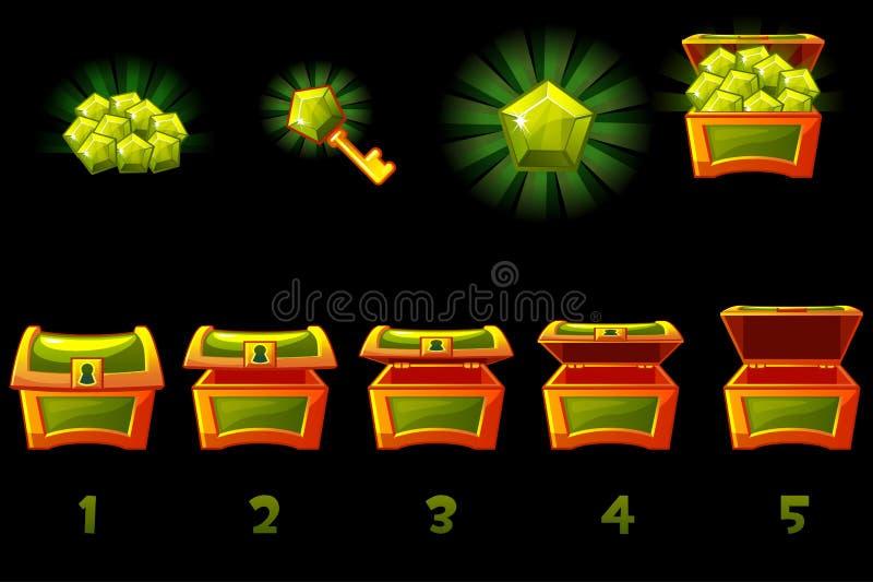 Arca do tesouro animado com a gema preciosa verde Caixa passo a passo, completa e vazia, aberta e fechado  ilustração stock