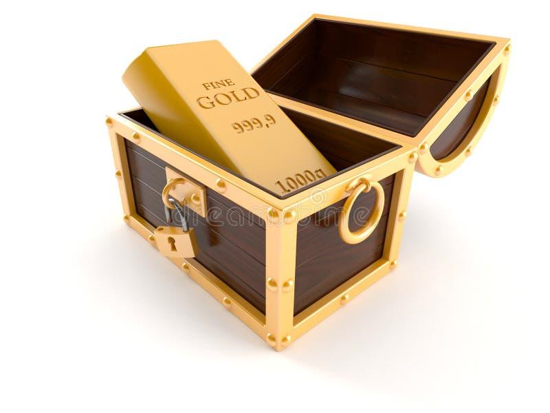 Arca do tesouro com lingote do ouro ilustração royalty free
