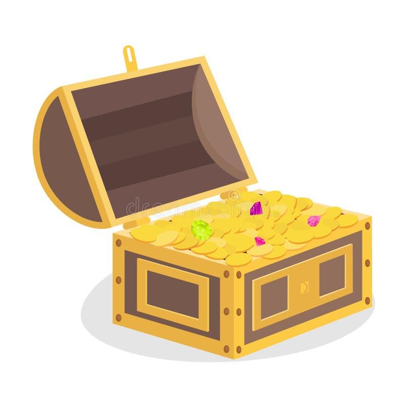 Arca do tesouro, tesouro com moedas de ouro e pedras preciosas Tesouros do pirata ilustração do vetor