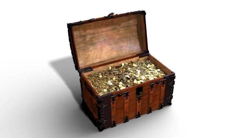 A arca do tesouro com moedas douradas, caixa de madeira velha aberta completamente do ouro isolado no fundo branco, 3D rende ilustração royalty free