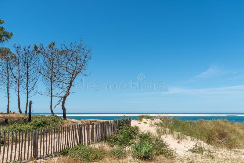 Arcachon fj?rd, Frankrike: stranden Petit Nice framme av sandbanken av Arguin och n?stan dyn av Pilat arkivfoton