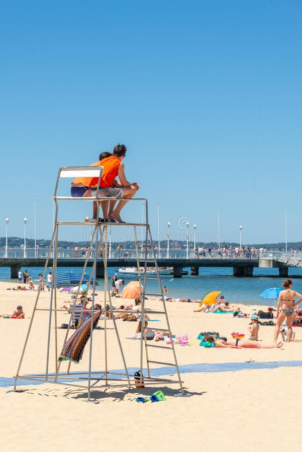 Arcachon, France, lifeguards on the beach stock image