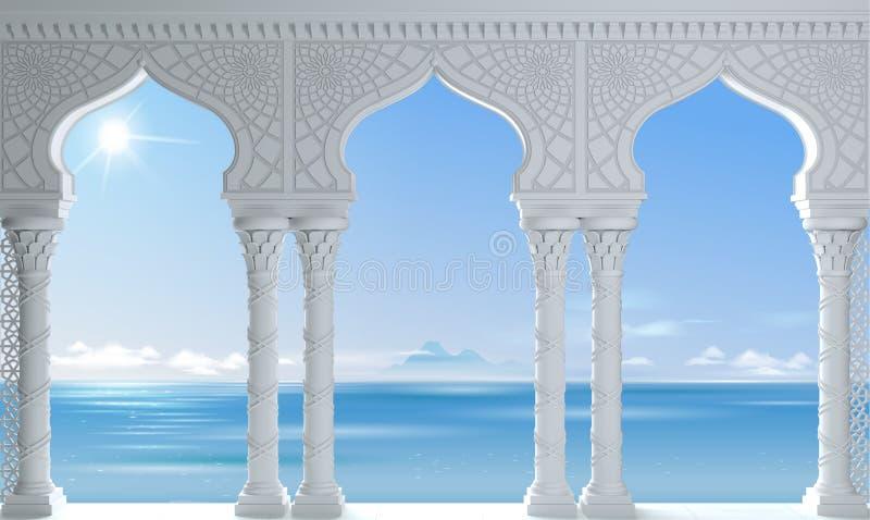 Arcada branca árabe antiga do mar oriental ilustração royalty free