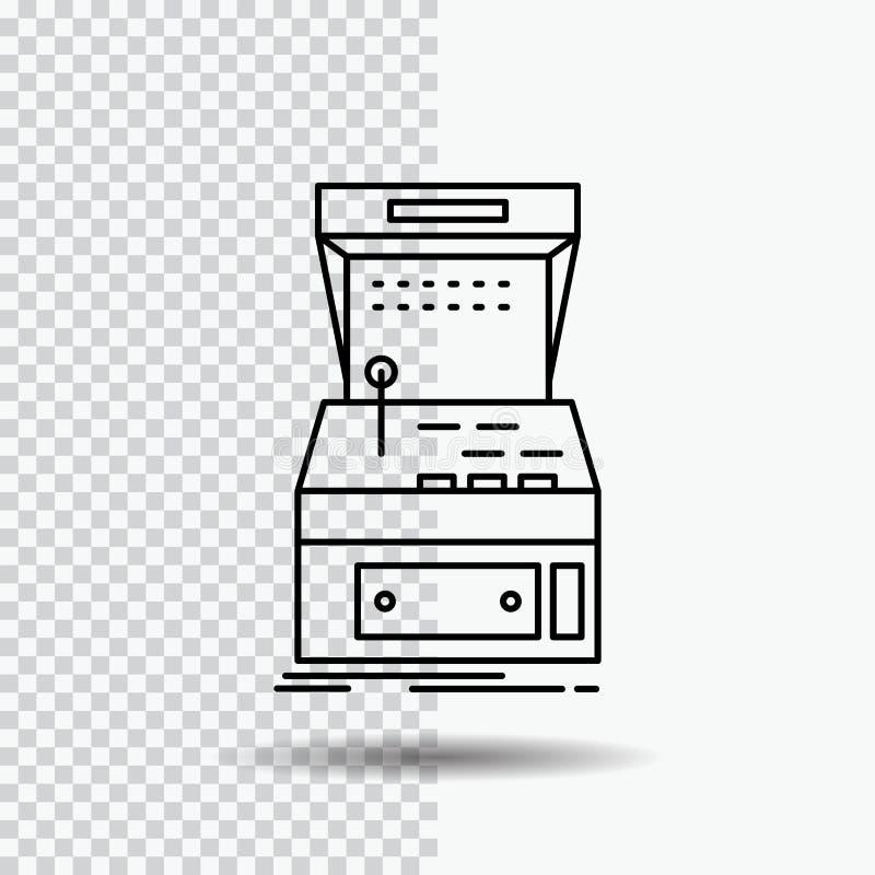 Arcada, consola, juego, máquina, línea icono del juego en fondo transparente Ejemplo negro del vector del icono libre illustration