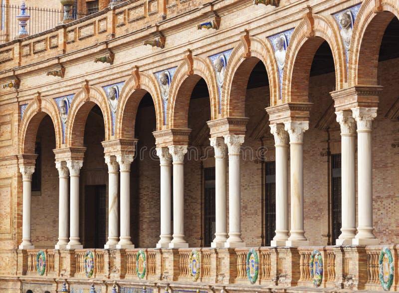 Arcada en Plaza de Espana, Sevilla, España fotografía de archivo libre de regalías