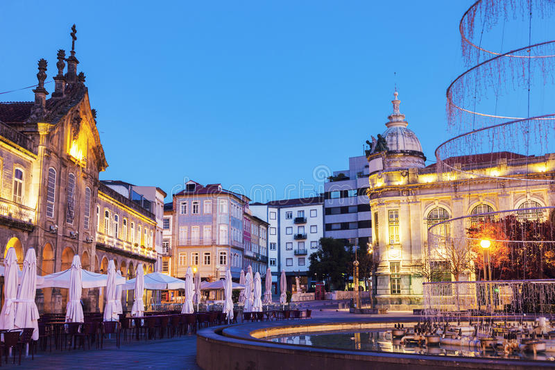 Arcada on Plaza de la Republica in Braga at dawn. Braga, Norte Region, Portugal stock photos