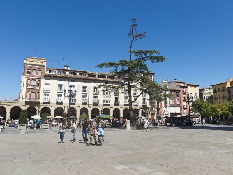Arcadas de Logrono no quadrado La Rioja da plaza de Mercado foto de stock