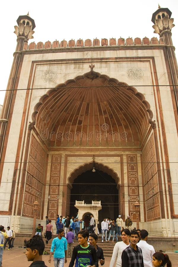 Arcadas de Shahi Jama Masjid, Deli, Índia imagem de stock