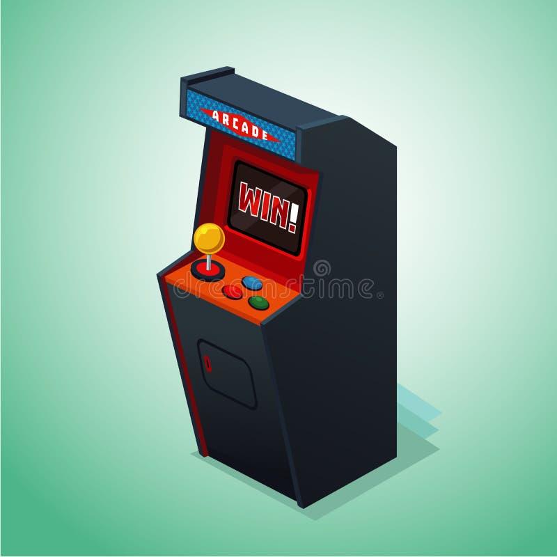 arcade μηχανή αναδρομική Απομονωμένος στο άσπρο τηλεοπτικό παιχνίδι απεικόνιση αποθεμάτων