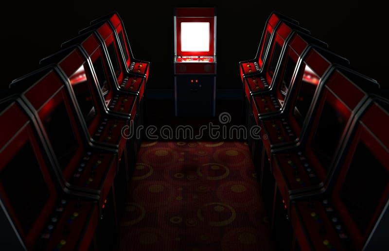 Arcade Aisle With One Illuminated stock abbildung