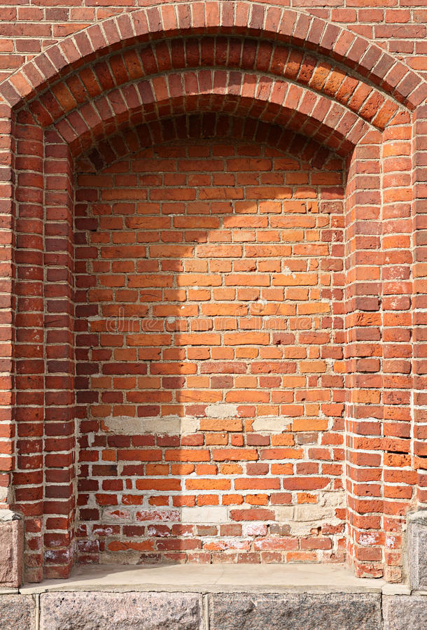 Arcade. Antique architectural element. Brick wall with arcade stock photography