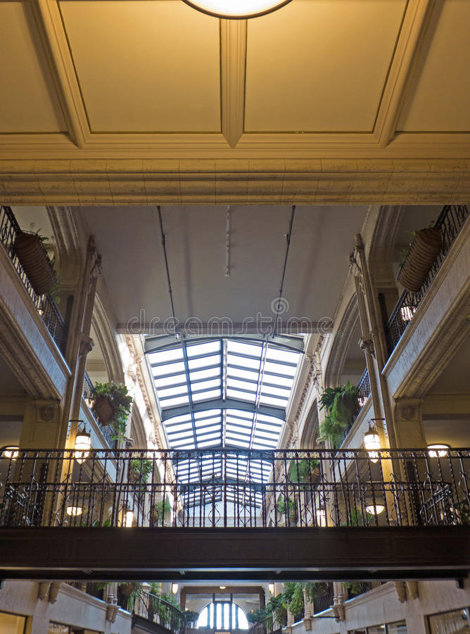 Arcade Architecture. Interior architecture of the Grove Arcade, originally built by E.W. Grove, completed in 1929, restored in 2002. Grove regarded the arcade as stock photo
