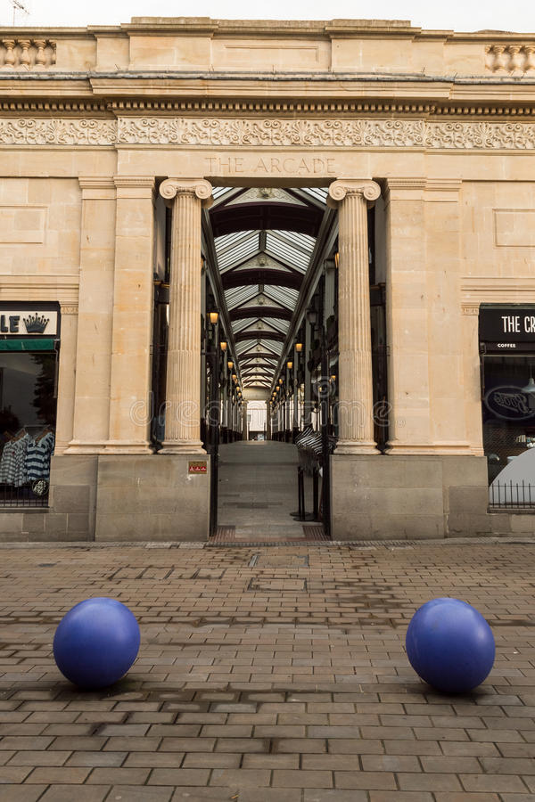 The Arcade - Broadmead at Bristol. ENGLAND, BRISTOL - 13 SEP 2015: The Arcade - Broadmead at Bristol, early morning royalty free stock photos