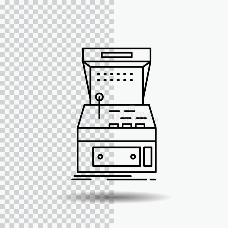 Arcade, console, game, machine, play Line Icon on Transparent Background. Black Icon Vector Illustration royalty free illustration
