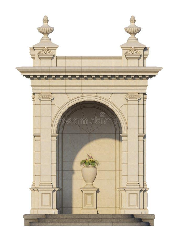 Arcade d'une pierre blanche dans le style classique 3d rendent illustration libre de droits