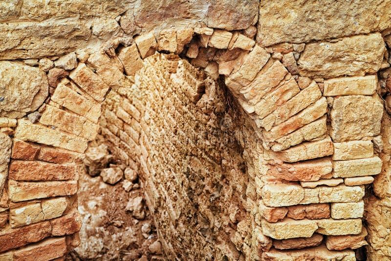 Arcade de site archéologique de bâtiments ville antique de Morgantina de vieille image libre de droits
