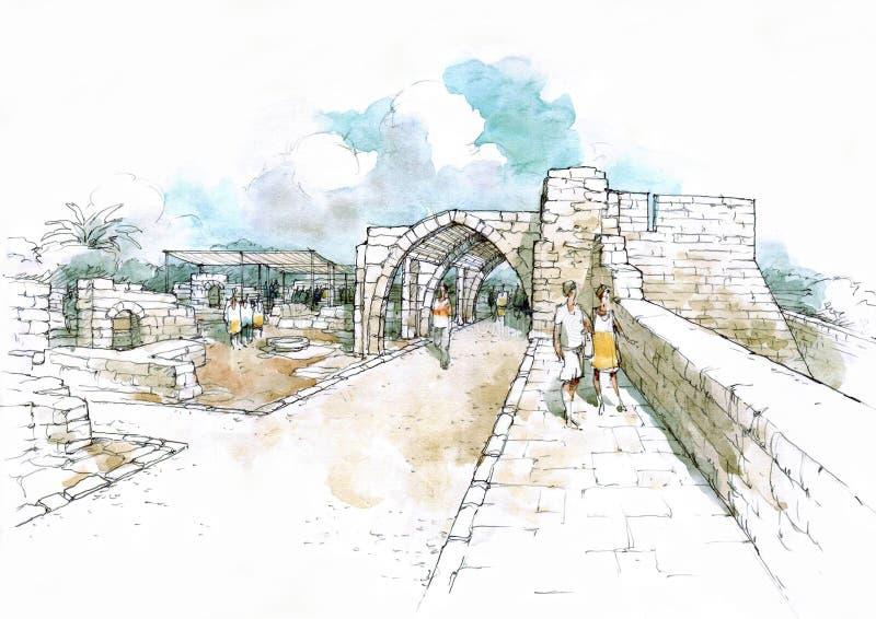 Arcade en parc archéologique illustration de vecteur