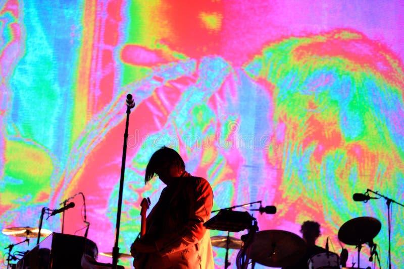 Arcade Fire (grupo de rock indie baseado em Montreal, em Quebeque, em Canadá) executa no festival 2014 do som de Heineken primave imagem de stock royalty free