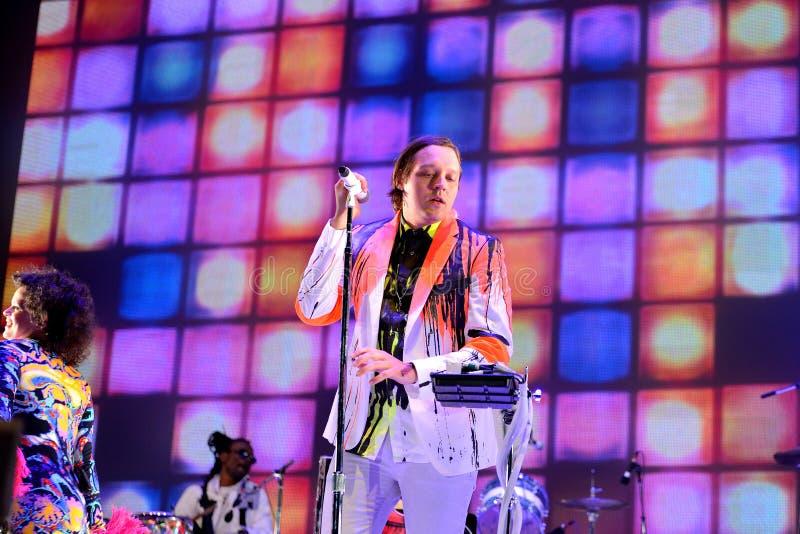 Arcade Fire (indie rock band) performs at Heineken Primavera Sound 2014 Festival. BARCELONA - MAY 29: Arcade Fire (indie rock band) performs at Heineken royalty free stock photos