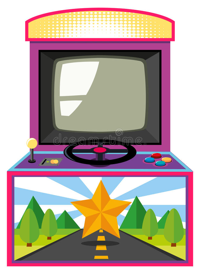 Arcade game box with screen and wheel vector illustration