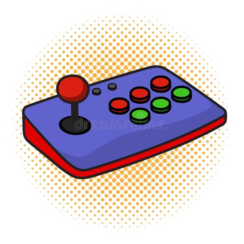 Arcade Game Controller Joystick on iSolated White Background. Cartoon Style Vector royalty free illustration