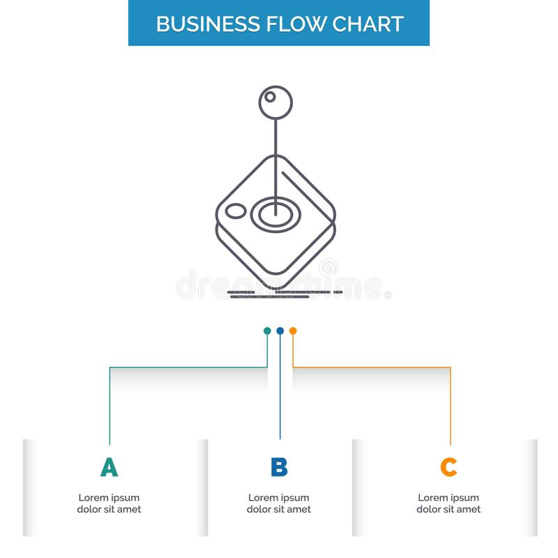 Arcade, game, gaming, joystick, stick Business Flow Chart Design with 3 Steps. Line Icon For Presentation Background Template. Place for text. Vector EPS10 vector illustration