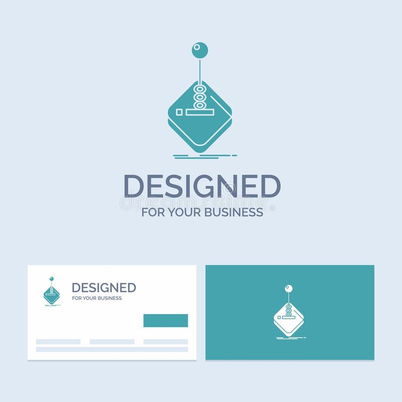 Arcade, game, gaming, joystick, stick Business Logo Glyph Icon Symbol for your business. Turquoise Business Cards with Brand logo. Template.. Vector EPS10 royalty free illustration